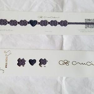 Cruciani Bracelet You Star Lilac Blue NIB NEW Auth